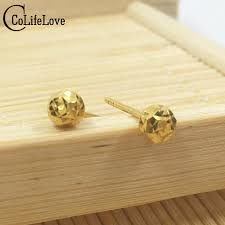 18k gold earrings classic 18k yellow gold stud earrings small dazzling gold