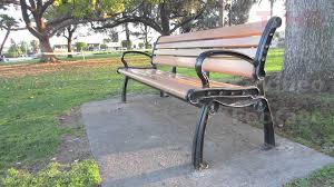 Bench Molds - outdoor public wooden park bench w metal wrought or cast iron