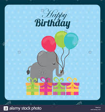 happy birthday card with cute elephant with balloons and gift