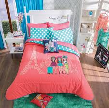 Queen Bedding Sets For Girls by New Girls Paris Trip Vacation Polka Dots Eiffel Tower Comforter