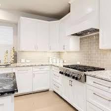 Gray Glass Tile Backsplash by Gray And White Granite Countertops Transitional Kitchen