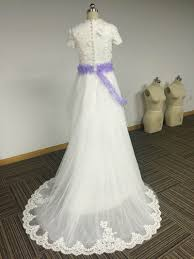customized short sleeve v neck lace and tulle puffy a line wedding