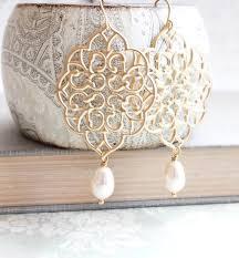 Chandelier Pearl Earrings For Wedding Gold Filigree Earrings Big Lace Dangle Pretty Modern Large Gold