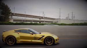 corvette stingray matte black gold chrome wrapped corvette is as flashy as they come u2013 video