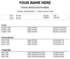 Resume Template For Actors by Acting Resume Template Resume Templates For Theatre
