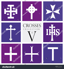 different types of purple set different types crosses on purple stock vector 612323966