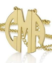 Block Monogram Necklace Monogram Necklaces Sterling Silver Gold Monogram Initial Necklace