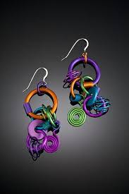 funky earrings anodized aluminum large funky earrings from studiotracyr on ruby