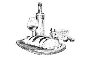 wine bread and blue cheese illustrations creative market