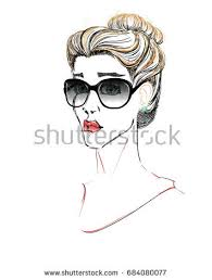 portrait beautiful bun hairstyle scarf stock vector 543482890
