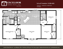 3 Bedroom Trailer Floor Plans by Schult Freedom 5228 405 Excelsior Homes West Inc