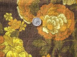 Yellow Home Decor Fabric 60s Vintage Home Decor Fabric Lot Retro Flowers Mod Print Cotton
