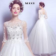 half lace wedding dress luxury tulle lace wedding dress half sleeves dressson