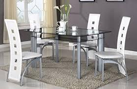 glass dining room table set amazon com gtu furniture 5pc glass dining room table set 1