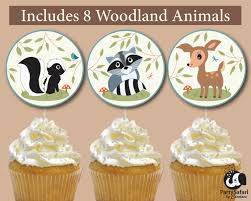 woodland animal baby shower printable cupcake toppers forest