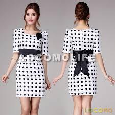 retro black white polka dot ruched shoulder office dress s