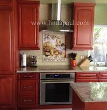 Tuscan Poppy Still Life Tile Mural Painted On The Diagonal On - Tuscan kitchen backsplash ideas