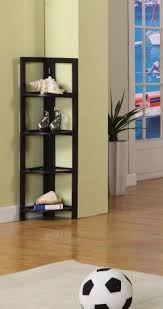 Espresso Corner Bookshelf Espresso Finish Wood Foldable 4 Tier Corner Shelves Bookcase Plant