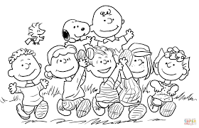 coloring pages kids snoopy with the peantas gang coloring page
