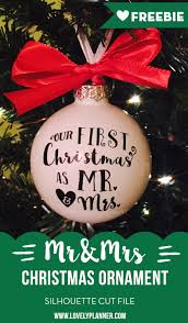 diy mr mrs ornament with vinyl free cut file
