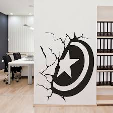 online get cheap shield room aliexpress com alibaba group ks1107 new us captain shield broken wall carved wall stickers living room bedroom background decoration creative