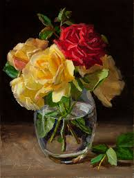 Glass Vase Painting Wang Fine Art Rose Flower In A Glass Vase Still Life Painting