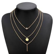 gold plated chain necklace images Sequin metal rod crystal multilayer necklace gold plated chain jpg