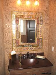 Small Powder Room Ideas by Round Framed Mirror Small Powder Room Designs Pair Of Chrome Tube