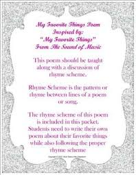 my favorite things rhyme scheme study by rock stars in the classroom