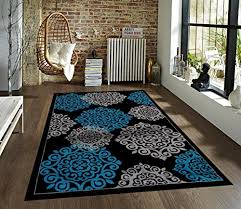 Large Modern Rug Turquoise Gray Black 7 10 10 2 Area Rug Modern Carpet Large New
