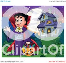 clipart of a halloween dracula vampire or kid in a costume near a