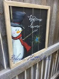 welcome home snowman sign porch decor