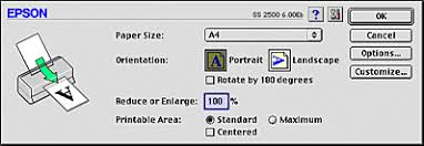 printable area change making changes to printer driver settings