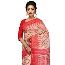dhakai jamdani saree online buy pinkloom women s dhakai jamdani saree in muslin beige