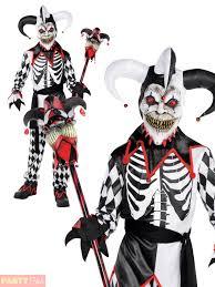 boys krazed jester costume halloween fancy dress evil clown joker
