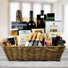 Wine And Cheese Basket Luxury Gift Baskets The Fifth Avenue Wine U0026 Cheese Platter
