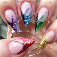 rainbow glitter nails sculptured acrylic using young nails