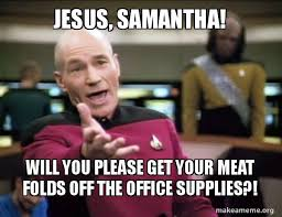 Samantha Meme - jesus samantha will you please get your meat folds off the office