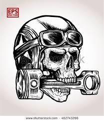 vintage biker skull bite piston print stock vector 462743266