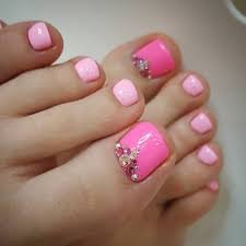 pink and fuchsia pedicure rhinestones nailed it pinterest