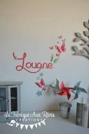 chambre bébé papillon stickers prénom fille corail vert d eau mint papillons décoration