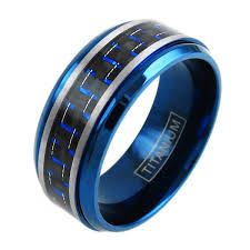 titanium rings images Blue titanium ring w blue black carbon fiber inlay wholesale jpg