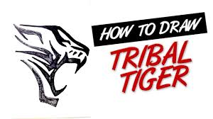 how to draw tiger tribal design