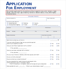 office job and employment application form template free sample