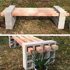 diy garden benches and tables made with cinder blocks