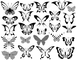 set of editable vector generic butterfly designs royalty free