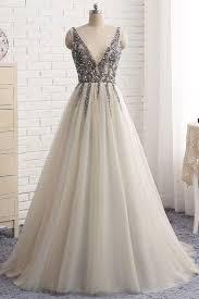 light gray long dress sweetheart a line ivory long wedding prom dress bsbridal