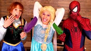 frozen family halloween costumes frozen elsa tickle challenge w spiderman anna joker spidergirl