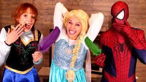 frozen elsa tickle challenge w spiderman anna joker spidergirl