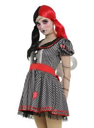 halloween doll costumes adults black u0026 grey striped wind up doll costume topic